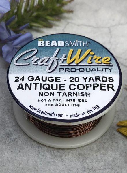 CRAFT WIRE 24GA ROUND 20YD ANTIQUE COPPER