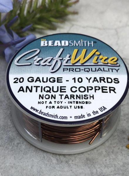 CRAFT WIRE 20GA ROUND 10YD ANTIQUE COPPER