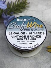 CRAFT WIRE 22GA ROUND 15YD VINTAGE BRONZE