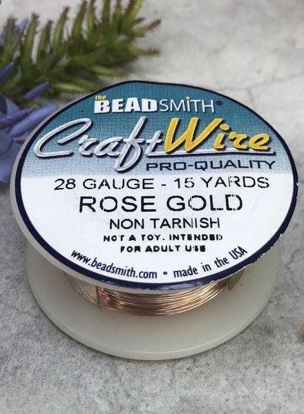 CRAFT WIRE 28GA ROUND 15YD ROSE GOLD