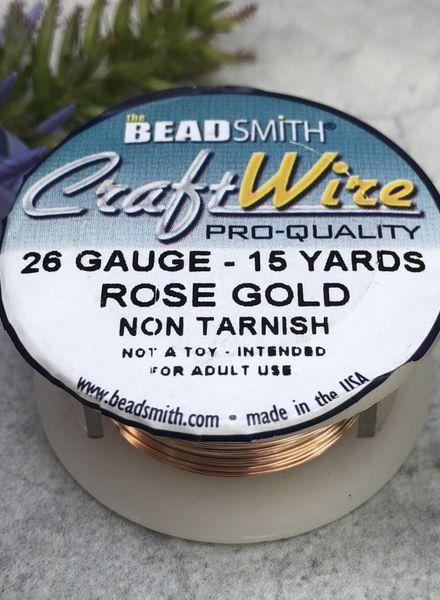 CRAFT WIRE 26GA ROUND 15YD ROSE GOLD