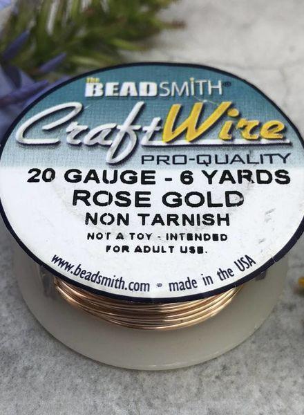 CRAFT WIRE 20GA ROUND 6YD ROSE GOLD