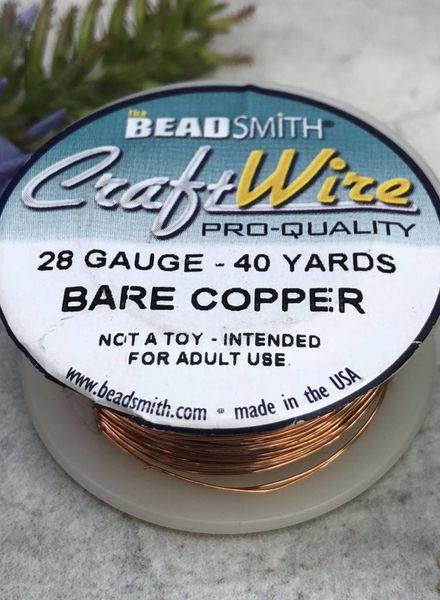 CRAFT WIRE 28GA ROUND 40YD NATURAL COPPER