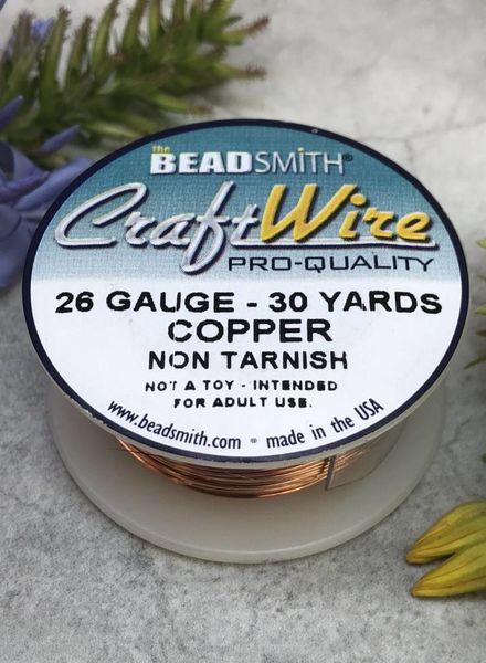 CRAFT WIRE 26GA ROUND 30YD NATURAL COPPER