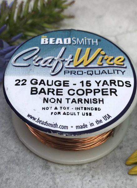 CRAFT WIRE 22GA ROUND 15YD NATURAL COPPER