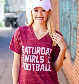 Opolis Saturday Swirls and Football Crimson V Neck