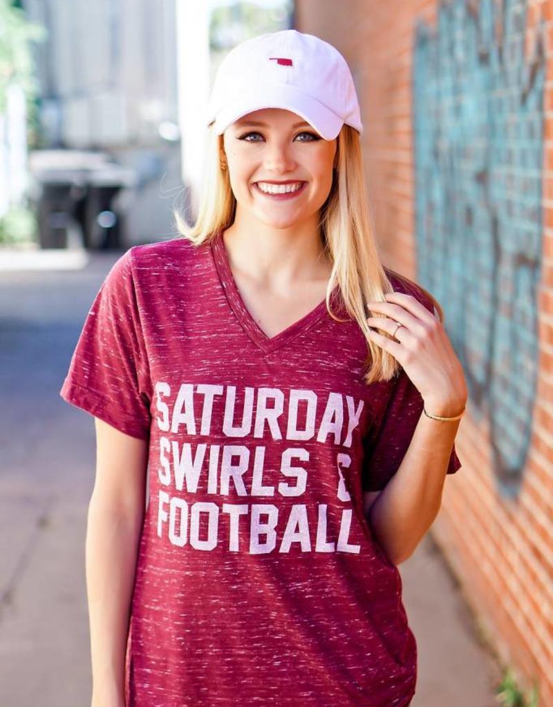 Opolis Saturday Swirls and Football Crimson V Neck