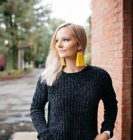 Chenille Soft Black Sweater