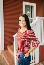 Crimson Stripe Top