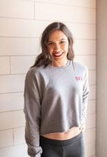 Okla Grey Cropped Sweatshirt