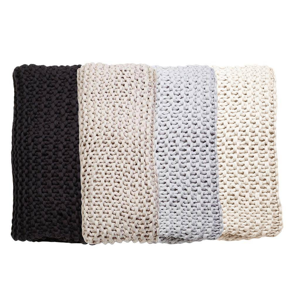 Finn Hand Knit Throw by Pom Pom at Home - Antique White