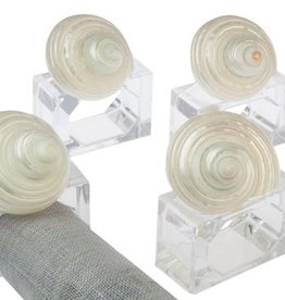 Hans Turnwald White Shell Napkin Ring on Acrylic set of 4 by Hans Turnwald