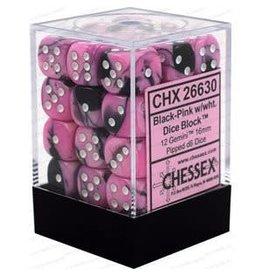 Chessex Gemini: 36D6 12mm Black-Pink/White