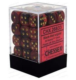 Chessex Gemini: 36D6 12mm Black-Red/Gold
