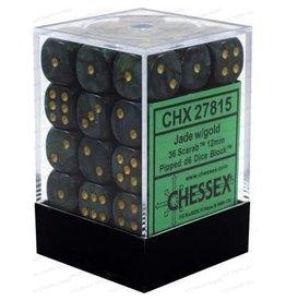 Chessex Scarab: 36D6 12mm Jade/Gold