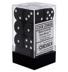 Chessex Opaque: 12D6 16mm Black/White