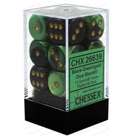 Chessex Gemini: 12D6 16mm  Black-Green/Gold
