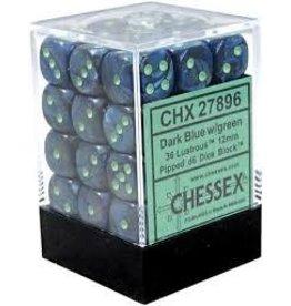 Chessex Lustrous: 36D6 12mm Dark Blue/Green
