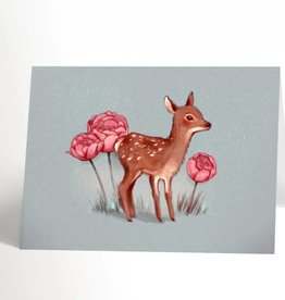 Valérie Boivin Illustrations Greeting card - Bambi and flowers