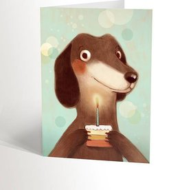 Valérie Boivin Illustrations Greeting Card - Cute dog and cupcake
