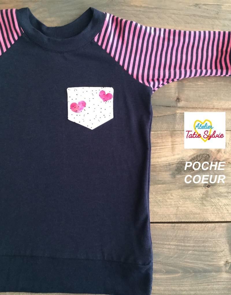 Atelier Tatie Sylvie Chandail manche 3/4 - Taille 2 ans - Marine et rose poche coeur