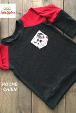 Atelier Tatie Sylvie Chandail - Taille 1 an - Gris charbon et rouge poche chien