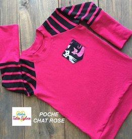 Atelier Tatie Sylvie Chandail - Taille 1 an - Fuschia et noir poche chat rose