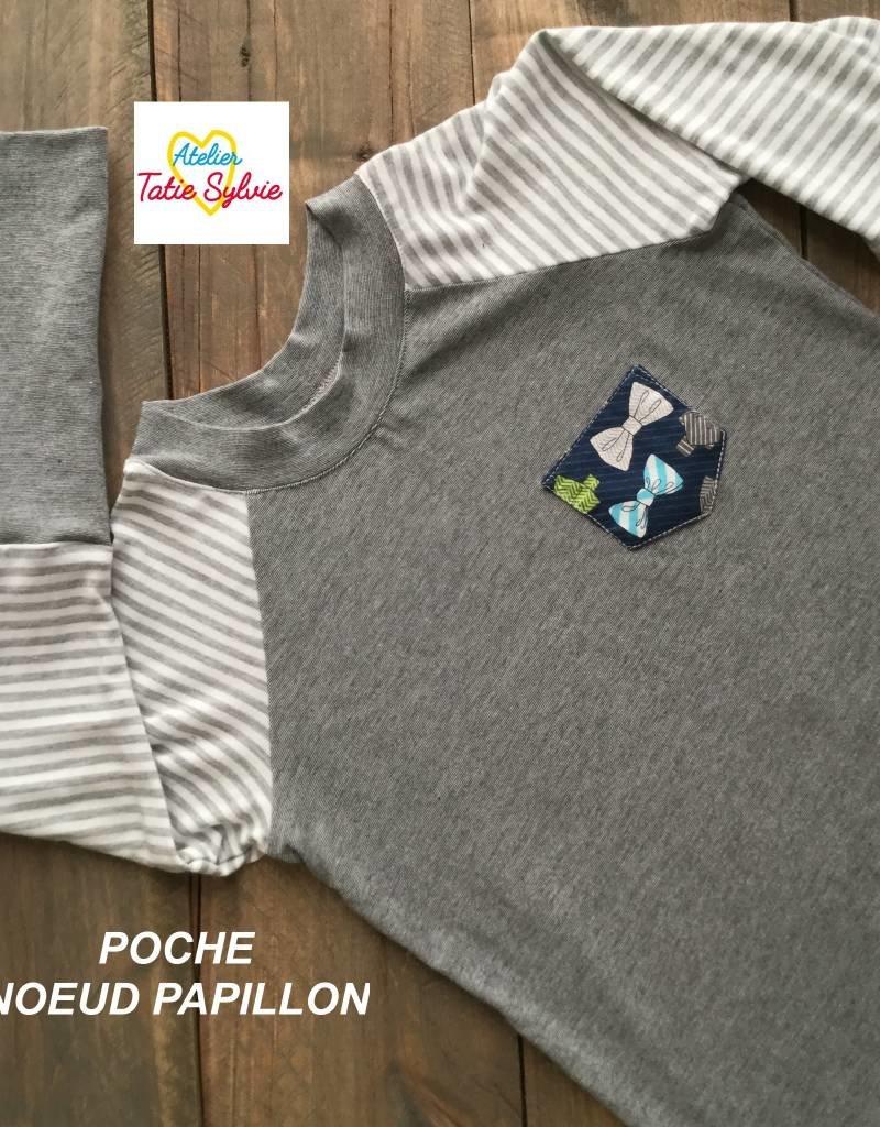 Atelier Tatie Sylvie Chandail - Taille 2 ans - Marine et gris poche noeud papillon