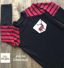 Atelier Tatie Sylvie Chandail - Taille 4 ans - Noir et rouge poche chevreuil