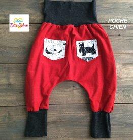 Atelier Tatie Sylvie Sarouel - Taille 6m - Rouge et gris charbon poche chien