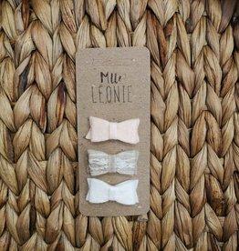 Mlle Léonie Trio de boucle feutrine - Boucle Pêche/Beige/Blanc