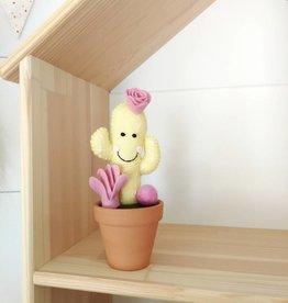 Pink Clémentine Cactus en feutrine - Jaune et rose