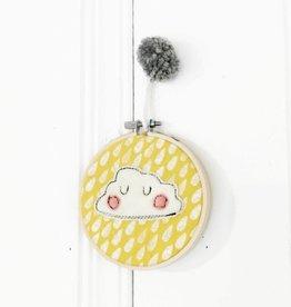 Créations Mirepoix Décoration murale - Nuage fond jaune - 4 pouces