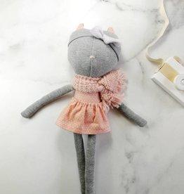 Kiou Kiout Peluche - Chat gris avec robe fleurie