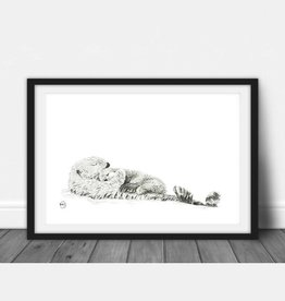 Le nid atelier Illustration - Mother Otter and baby