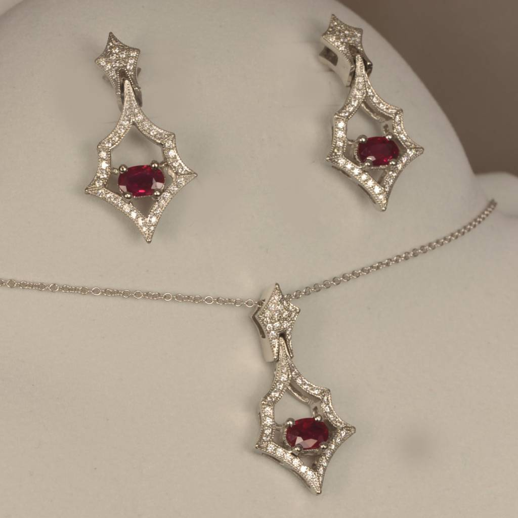 Timeless Traditional Ruby And Diamond Set Earrings Pendant
