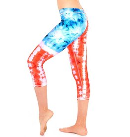 TIE DYE USA PERFORMANCE CAPRI LEGGINGS