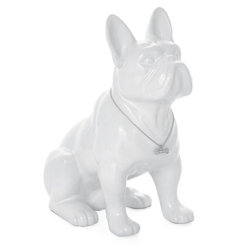 Torre & Tagus Sitting French Bulldog: White