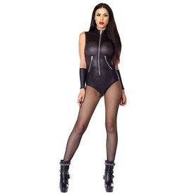 FOR Perforated Bodysuit Zip Front And Zip Detail