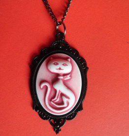 SOL Cat Meow Cameo Necklace  Metal Setting