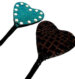 KO Exotic Leather Heart Riding Crop