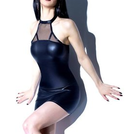 COQ Matte Wetlook Dress With Sheer Halter