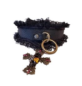 LN Pointed Leather Collar W Punk Cross