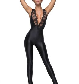 NH Sleeveless Wetlook Catsuit With Lace Trim