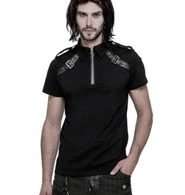 WF Military Short Sleeve Top with Faux Leather Buckles