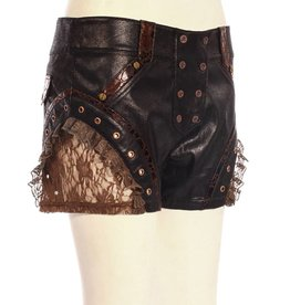 WF Steampunk Leatherette Shorts with Lace Hem Detail