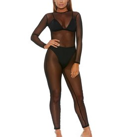 FOR Micro Net Mock Neck Catsuit