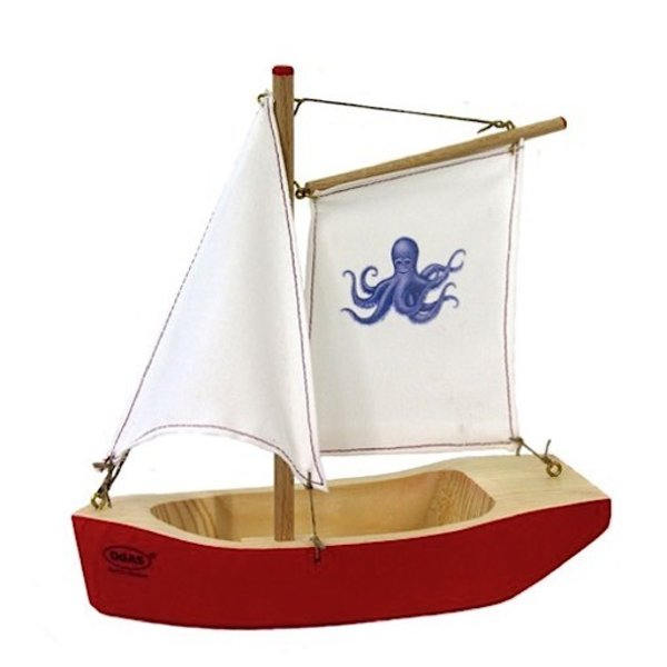 Red Sailboat Gaff-Rigged Octopus Sail