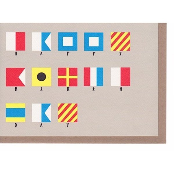 Yellow Owl Workshop Nautical Flags Birthday Card