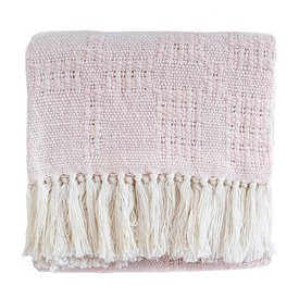 Mostrom & Chase Handwoven Cotton Baby Blanket - Pink